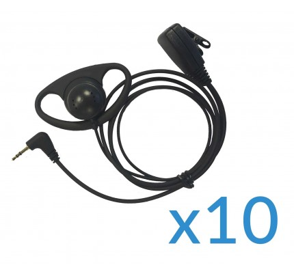 Motorola Earpiece and Mic Ten Pack for TLKR Two-Way Radios