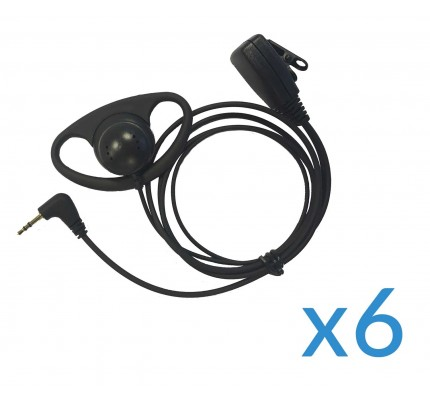 Motorola Earpiece and Mic Six Pack for TLKR Two-Way Radios