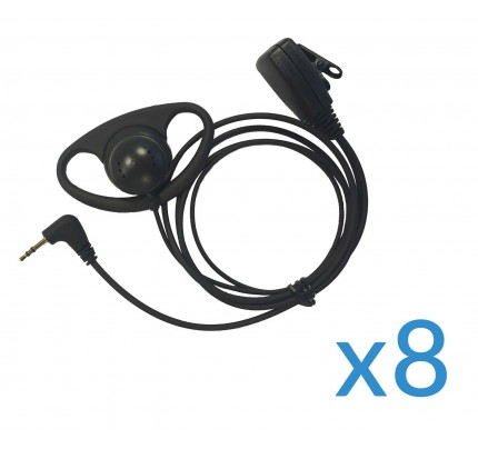 Motorola Earpiece and Mic Eight Pack for TLKR Two-Way Radios