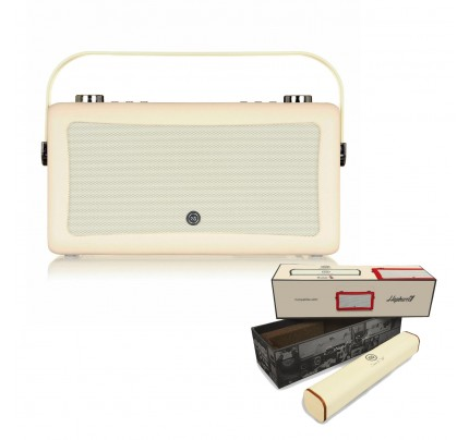 VQ Hepburn Mk II  Portable DAB+/FM Radio & Bluetooth Speaker with Rechargeable Battery Pack in Cream
