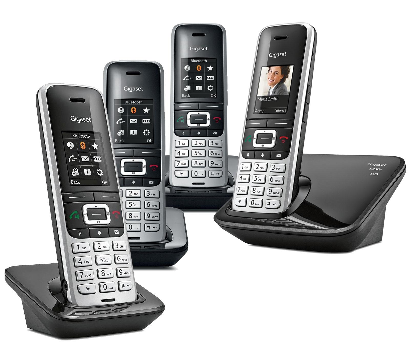 Image of Siemens Gigaset Premium S850A Cordless Phone, Quad Handset with Answer Machine