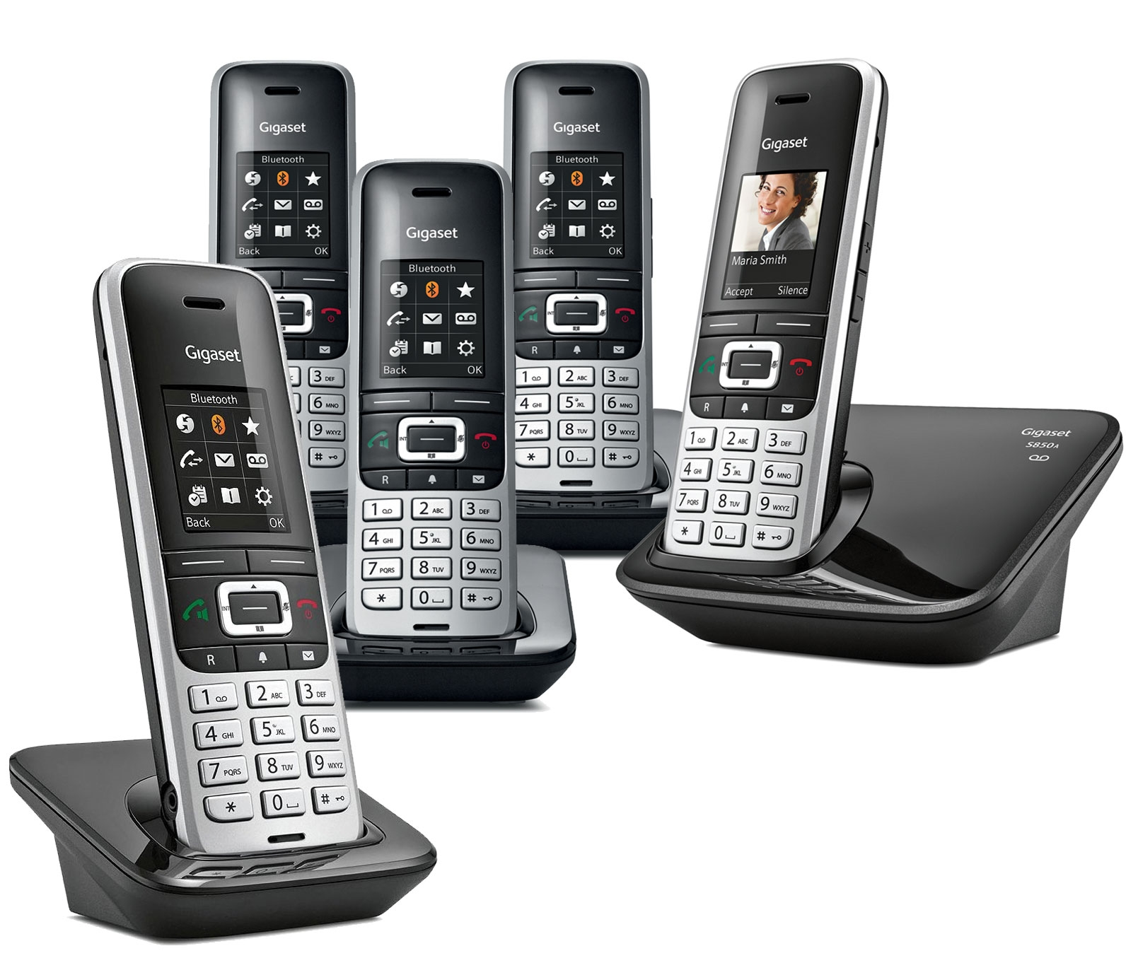 Image of Siemens Gigaset Premium S850A Cordless Phone, Five Handsets with Answer Machine