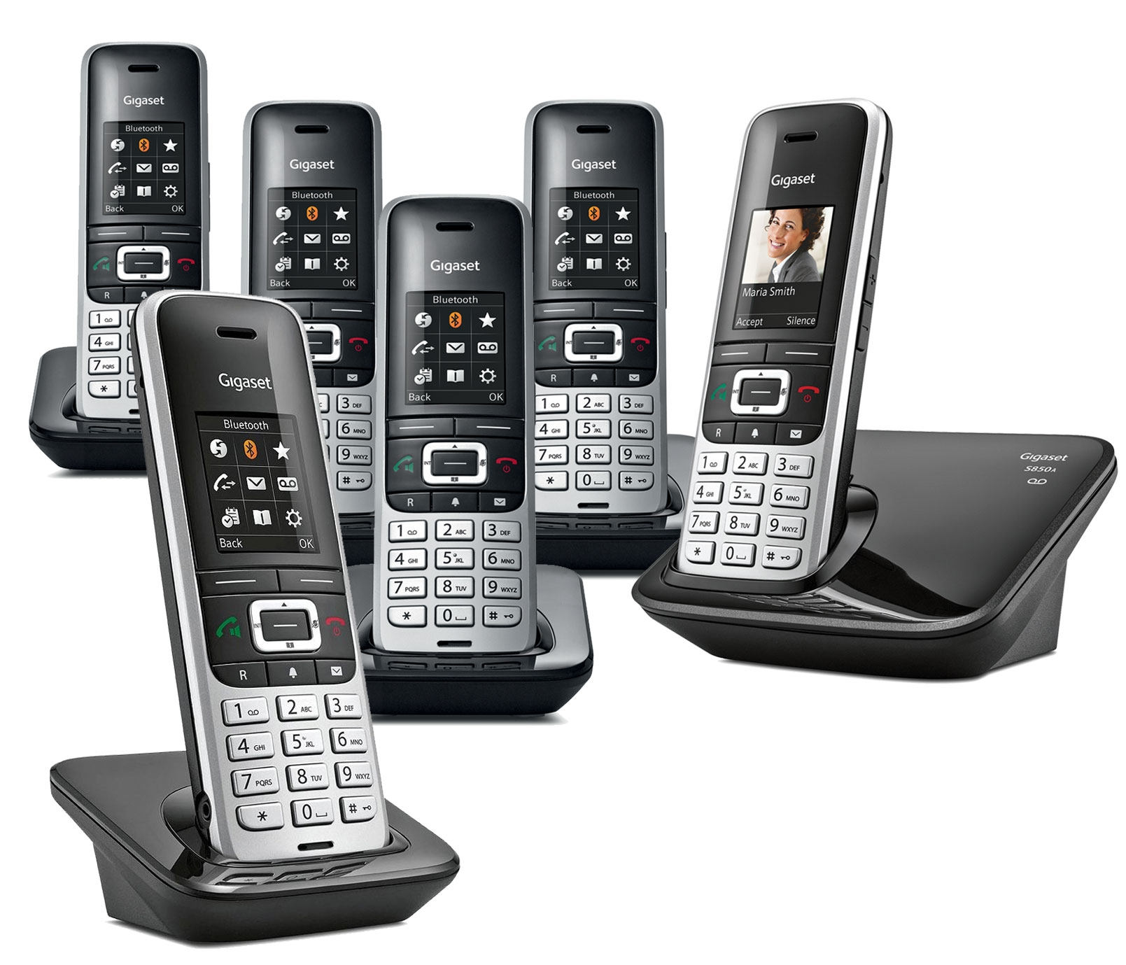 Image of Siemens Gigaset Premium S850A Cordless Phone, Six Handsets with Answer Machine