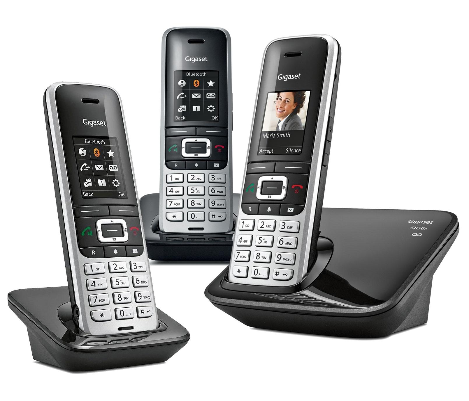 Image of Siemens Gigaset Premium S850A Cordless Phone, Trio Handset with Answer Machine