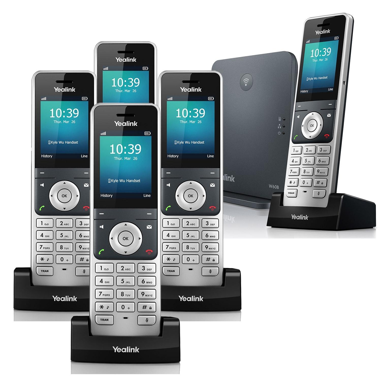 IP Phones Yealink W60P VoIP Cordless Phone, Five Handsets