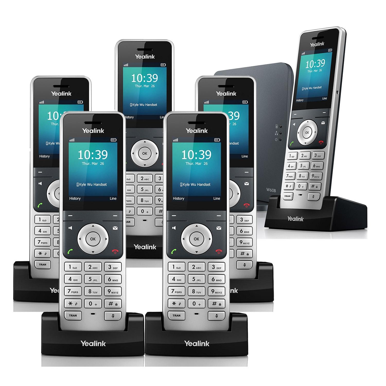 IP Phones Yealink W60P VoIP Cordless Phone, Six Handsets