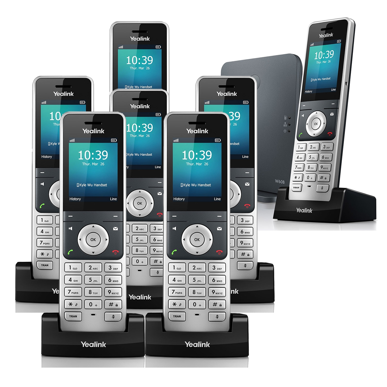 IP Phones Yealink W60P VoIP Cordless Phone, Seven Handsets