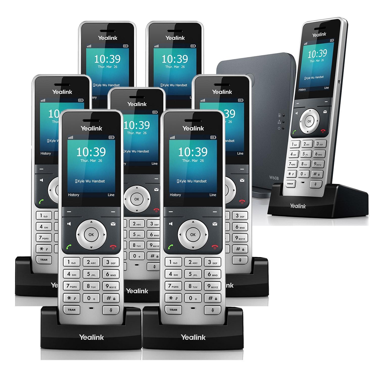 IP Phones Yealink W60P VoIP Cordless Phone, Eight Handsets