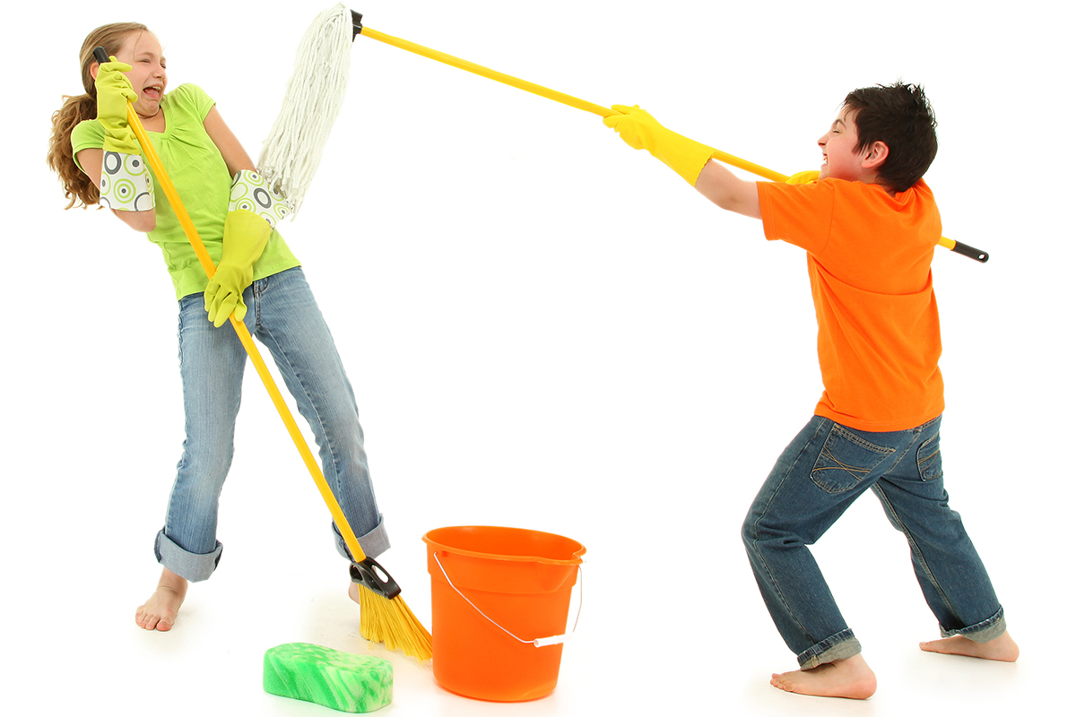 Spring Cleaning Kids with Boy Putting Mop in Girls Face